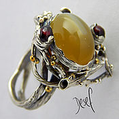 Украшения handmade. Livemaster - original item Ring silver with carnelian and pomegranates. Handmade.
