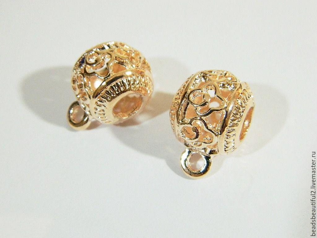 Bail holder pendants,Rose gold plated, 19 x 5 x 3 mm, Beads1, Saratov,  Фото №1