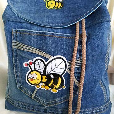 """Сумки и аксессуары ручной работы. Ярмарка Мастеров - ручная работа Детский джинсовый рюкзачок """"пчела"""". Handmade."""