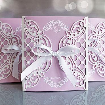 """Свадебный салон ручной работы. Ярмарка Мастеров - ручная работа """"Розовая пудра"""" приглашения на свадьбу. Handmade."""