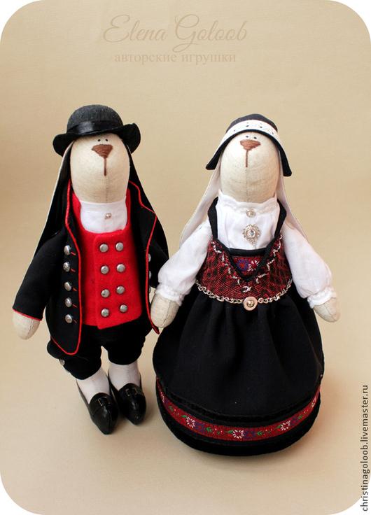 Куклы Тильды ручной работы. Ярмарка Мастеров - ручная работа. Купить Пара зайчиков Норвежцы. Handmade. Тёмно-синий, норвежский