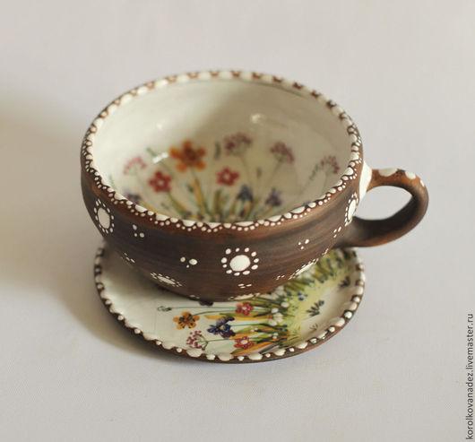 Кружки и чашки ручной работы. Ярмарка Мастеров - ручная работа. Купить Керамическая чайная пара (майолика), Кружка и блюдце. Handmade.