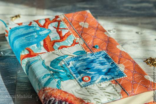 """Обложки ручной работы. Ярмарка Мастеров - ручная работа. Купить Обложка на книгу """"Морские жители"""". Handmade. Обложка на книгу, бирюзовый"""