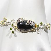 Украшения handmade. Livemaster - original item Bracelet with black spinel, grenades, Topaz and chrome diopside. Handmade.