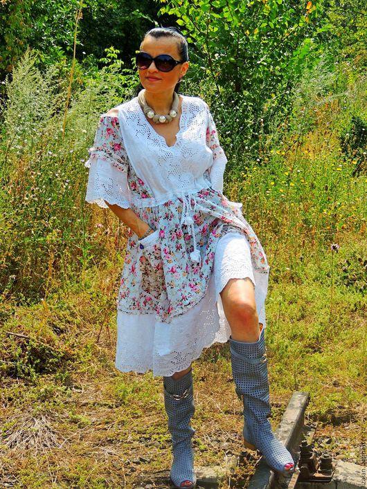 Платья ручной работы. Ярмарка Мастеров - ручная работа. Купить Летнее платье в стиле БОХО (№177). Handmade. Комбинированный