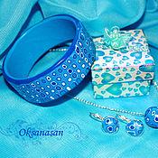 Украшения handmade. Livemaster - original item Earrings, pendant, bracelet, blue geometry set. Handmade.