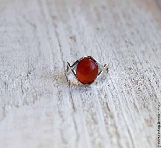 Кольца ручной работы. Ярмарка Мастеров - ручная работа. Купить Серебряное кольцо с сердоликом - 10х12 мм. Handmade. Бордовый, сердолик