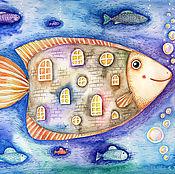"""Картины ручной работы. Ярмарка Мастеров - ручная работа Акварельная картина """"Рыба-дом"""". Handmade."""