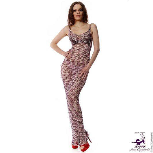 """Платья ручной работы. Ярмарка Мастеров - ручная работа. Купить Красивое платье """"Сетка меланж"""" вязаное стрейч с блеском сиреневое. Handmade."""