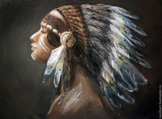 Этно ручной работы. Ярмарка Мастеров - ручная работа. Купить Индианка. Handmade. Индейцы, этно, картина маслом, масло
