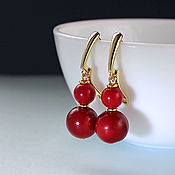 Украшения handmade. Livemaster - original item Gold plated earrings with red coral natural. Handmade.