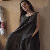 Одежда ручной работы. Ярмарка Мастеров - ручная работа Платье сарафан из льна Арт.04а, бежево-черное расклешенное меланж. Handmade.