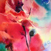 Картины и панно ручной работы. Ярмарка Мастеров - ручная работа Акварель Ночной Мак. Handmade.