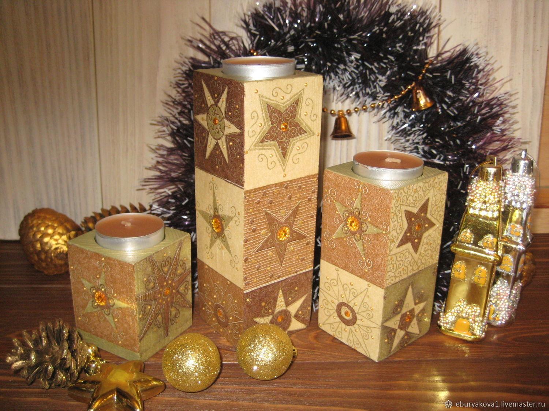Подсвечники деревянные `Звездные`. Ярмарка Мастеров. Купать подсвечники из дерева, новогодние подсвечники.