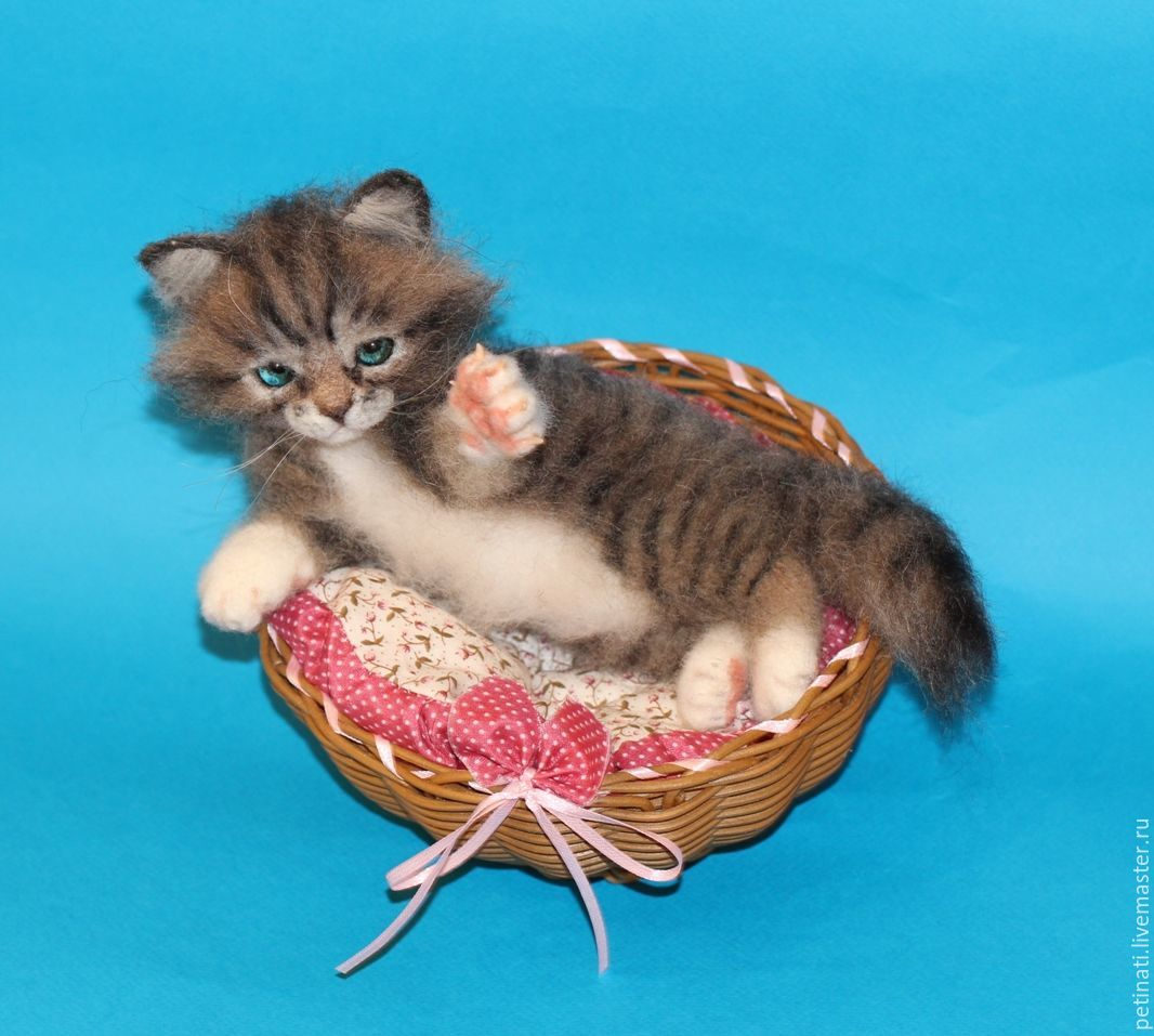 felted kitty'kitty'in the basket, Felted Toy, Moscow,  Фото №1