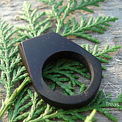 Украшения handmade. Livemaster - original item Darkness - ring of resin and black hornbeam. Handmade.