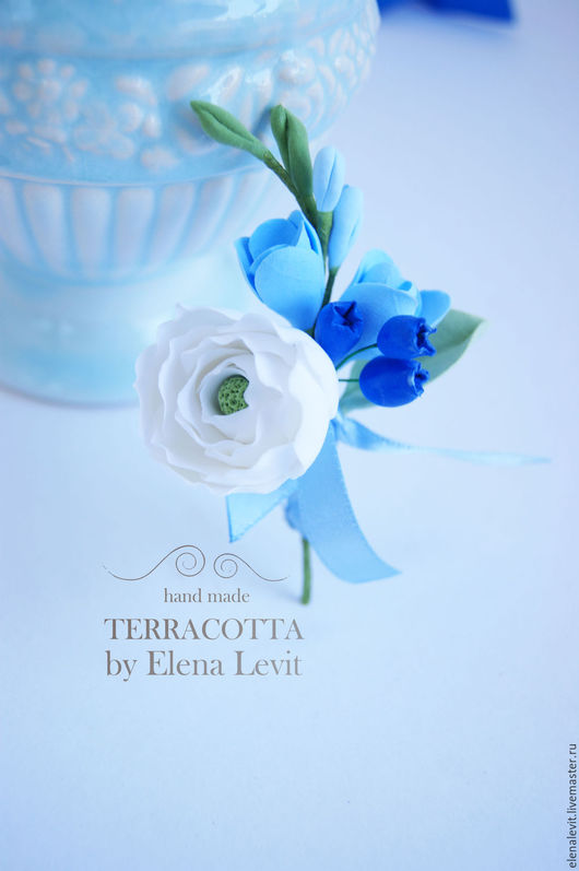 Бутоньерка с цветами из полимерной глины. Terracotta by Elena Levit.
