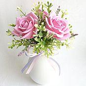 Цветы и флористика ручной работы. Ярмарка Мастеров - ручная работа Минибукетик с розами. Handmade.