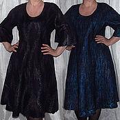 """Одежда ручной работы. Ярмарка Мастеров - ручная работа Двустороннее валяное платье """"Почти чёрное и почти синее"""". Handmade."""