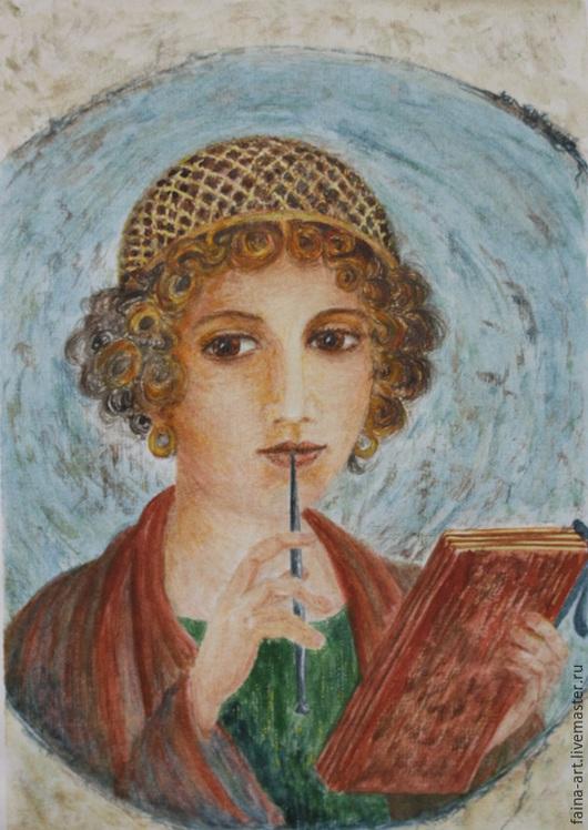 Люди, ручной работы. Ярмарка Мастеров - ручная работа. Купить Несравненная Сафо, Древняя Греция, женский портрет, портрет акварелью. Handmade.