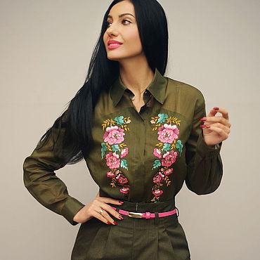 """Одежда ручной работы. Ярмарка Мастеров - ручная работа Блуза с ручной вышивкой """"Хаки"""" стильная батистовая блузка. Handmade."""