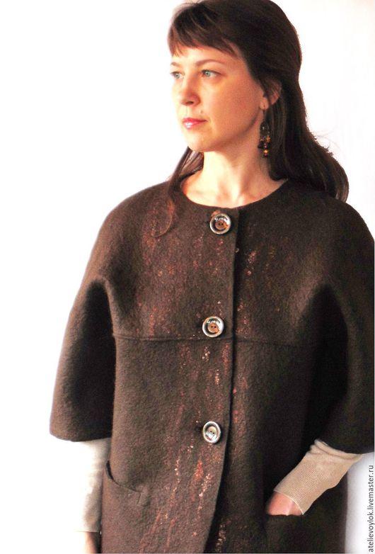 Верхняя одежда ручной работы. Ярмарка Мастеров - ручная работа. Купить Шерстяное полупальто, 48-52 размер. Handmade. Коричневый