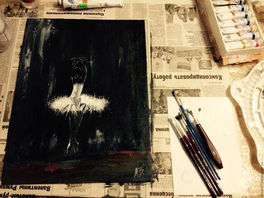 Люди, ручной работы. Ярмарка Мастеров - ручная работа. Купить Балерина одиночества. Handmade. Черный, холст, холст на картоне, балет