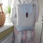 Сумки и аксессуары ручной работы. Ярмарка Мастеров - ручная работа Стеганый рюкзак из льна и хлопка на молнии. Handmade.