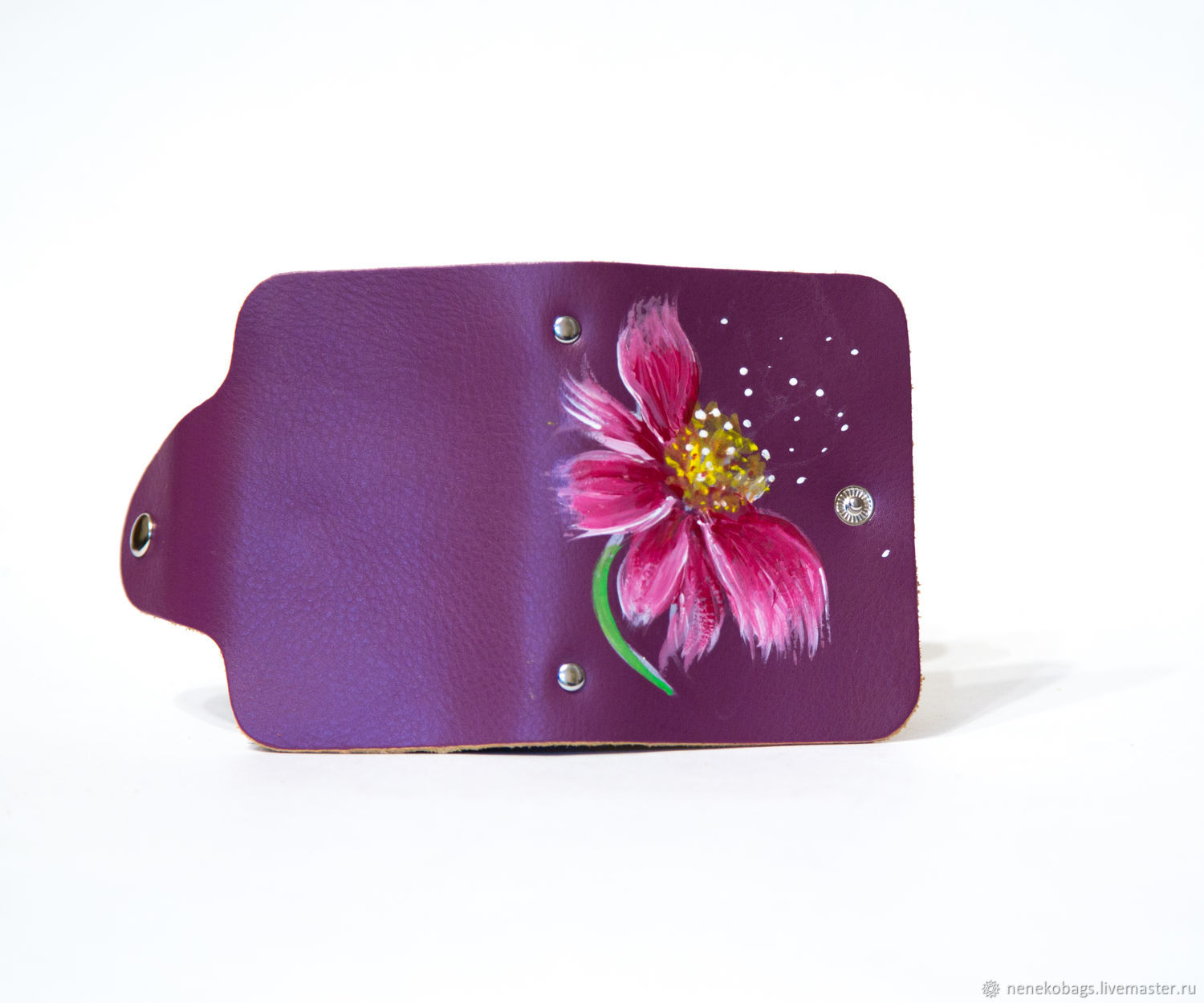 Business card holder leather with painted purple flowering on the ...