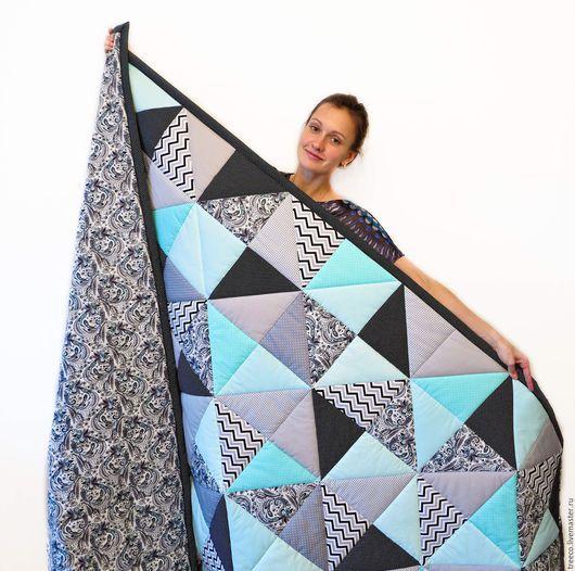 Текстиль, ковры ручной работы. Ярмарка Мастеров - ручная работа. Купить Двуспальное одеяло бирюзово-черное. Handmade. Черный