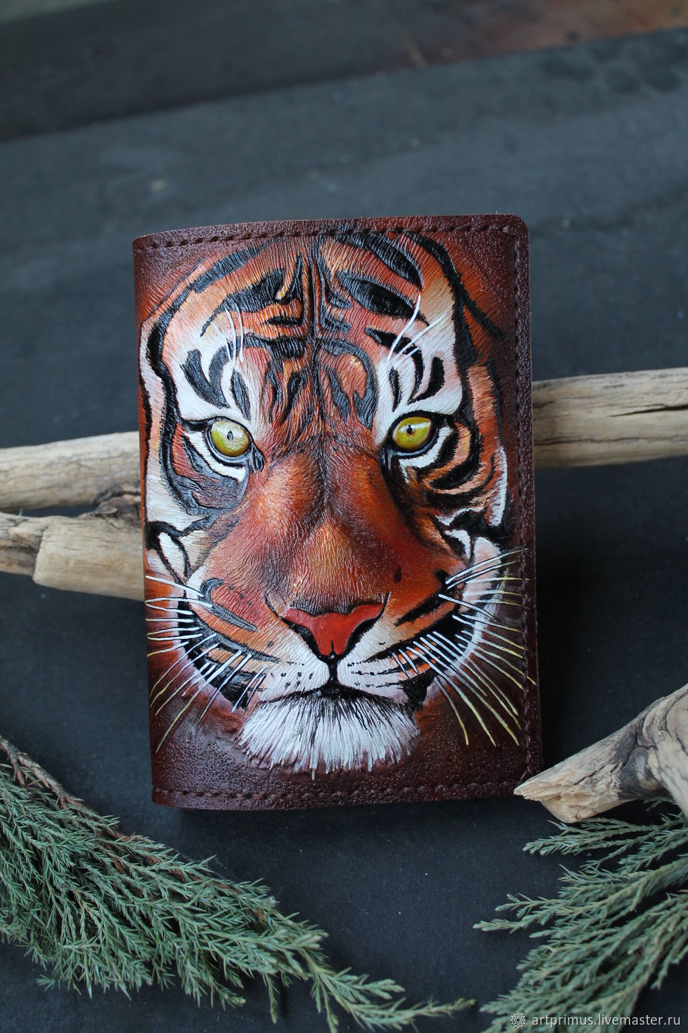 Passport cover Tiger, embossed painting, hand seam, Cover, Voronezh,  Фото №1