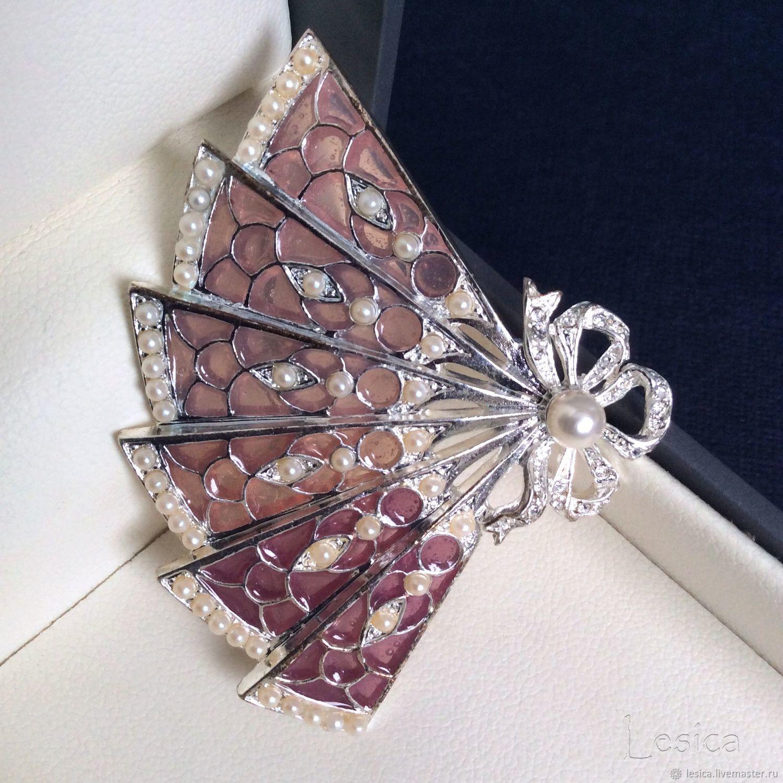 Vintage brooch fan plique-a-jour, Vintage brooches, Ramenskoye,  Фото №1