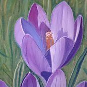 """Картины и панно ручной работы. Ярмарка Мастеров - ручная работа Картина маслом """" Крокусы """", картина цветы, картина крокусы. Handmade."""