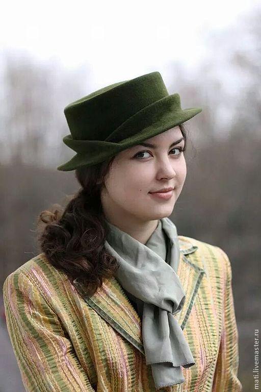 """Шляпы ручной работы. Ярмарка Мастеров - ручная работа. Купить шляпка-канотье """"Холмы"""". Handmade. Тёмно-зелёный, стильный аксессуар"""