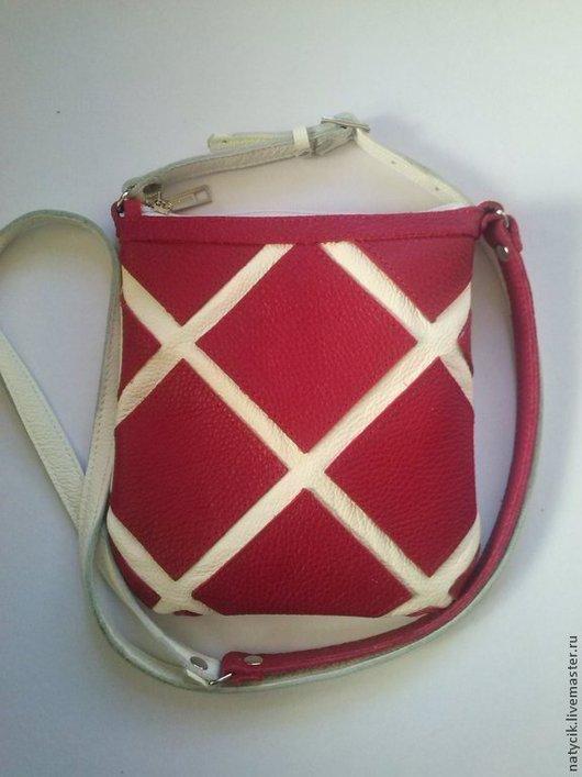 Женские сумки ручной работы. Ярмарка Мастеров - ручная работа. Купить красный квадрат-1. Handmade. Белый, молния, подкладка