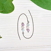 Украшения handmade. Livemaster - original item Broach earrings with amethyst, aquamarine and rose quartz. Handmade.