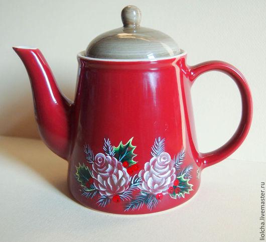"""Чайники, кофейники ручной работы. Ярмарка Мастеров - ручная работа. Купить Чайник """"Новогоднее чаепитие"""". Handmade. Бордовый, новогоднее чаепитие"""