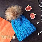 Аксессуары handmade. Livemaster - original item Hat with fur pompom ` Turquoise'. Handmade.