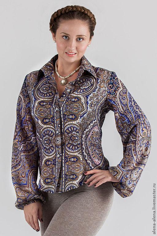 Блузки ручной работы. Ярмарка Мастеров - ручная работа. Купить Рубашка из павлово-посадского платка.. Handmade. Цветочный, рубашка