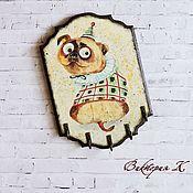 """Ключницы ручной работы. Ярмарка Мастеров - ручная работа Ключница-вешалка """"Мопс"""". Handmade."""