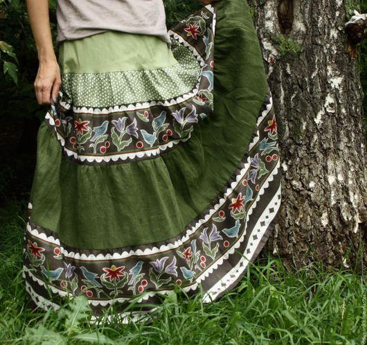 """Юбки ручной работы. Ярмарка Мастеров - ручная работа. Купить Юбка """"Лесные птицы"""". Handmade. Юбка, бохостиль, длинная юбка"""