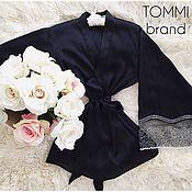Одежда ручной работы. Ярмарка Мастеров - ручная работа Элегантное кимоно с черным полупрозрачным кружевом. Handmade.