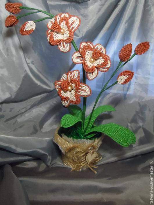 Цветы ручной работы. Ярмарка Мастеров - ручная работа. Купить Орхидея из бисера. Handmade. Разноцветный, цветы ручной работы, сизаль