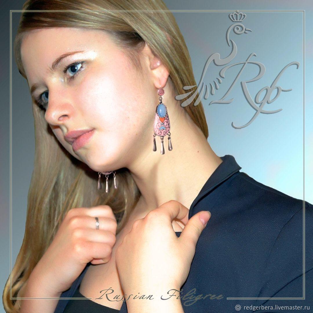 Set 'Kostroma' enamel, silvering 12 microns, Jewelry Sets, Kostroma,  Фото №1