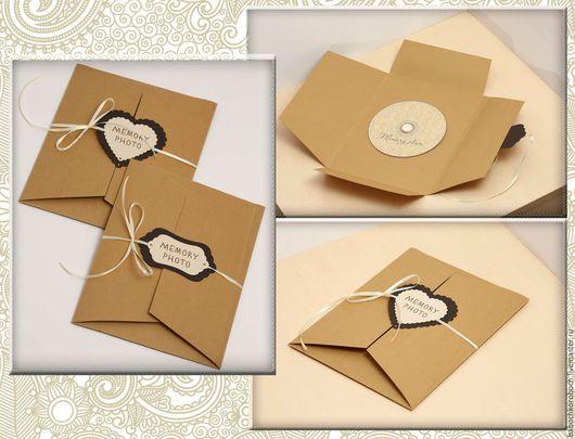 Подарочная упаковка ручной работы. Ярмарка Мастеров - ручная работа. Купить Конверт для фотографий, конверт для CD диска, упаковка для диска и фот. Handmade.