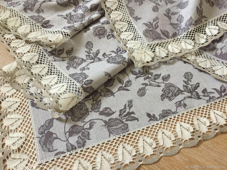 Linen tablecloth ' Jacquard rose on the gray', Tablecloths, Ivanovo,  Фото №1