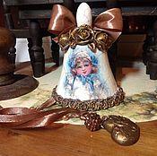 """Подарки к праздникам ручной работы. Ярмарка Мастеров - ручная работа Колокольчик """"Голубые банты"""". Handmade."""