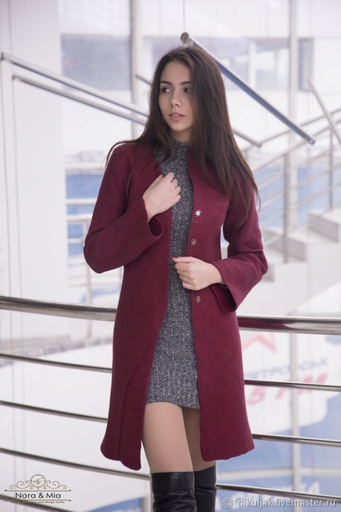Demi felted coat Burgundy, Coats, Dnepropetrovsk,  Фото №1