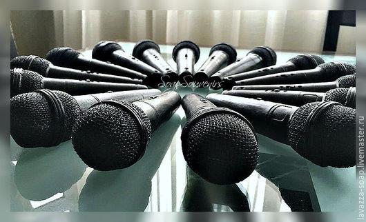 Мыло ручной работы. Ярмарка Мастеров - ручная работа. Купить Мыло Микрофон. Handmade. Черный, мыло, музыкальный инструмент