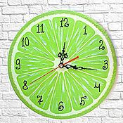 Для дома и интерьера handmade. Livemaster - original item Kitchen clock lime Citrus. Handmade.